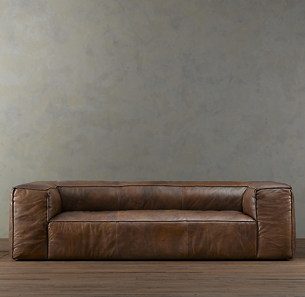 "111"" Fulham Leather Sofa"