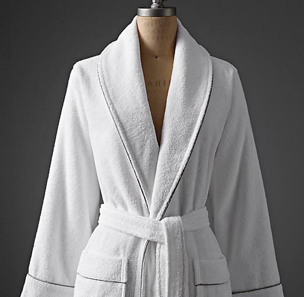 Hotel Satin Stitch Cotton Bath Robe