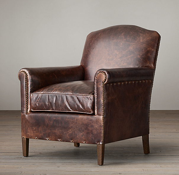 Restoration Hardware Chairs: 1920s French Camelback Leather Club Chair