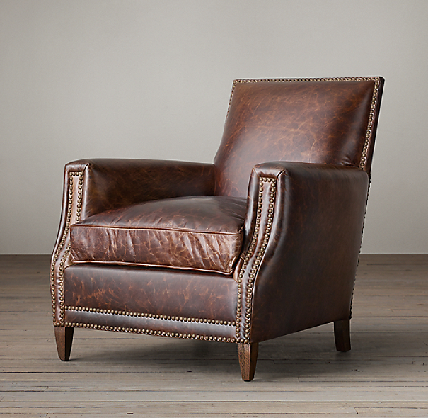 Restoration Hardware Leather Chair: Marcel Leather Club Chair