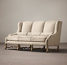 17th Century French Upholstered Wing Settee