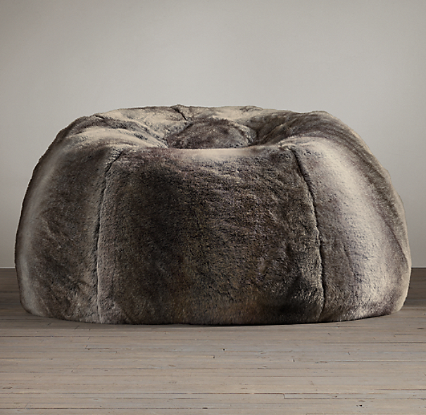 Luxe Faux Fur Bean Bag Wolf