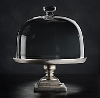 Grand Brasserie Cast Aluminum Cake Stand & Glass Dome