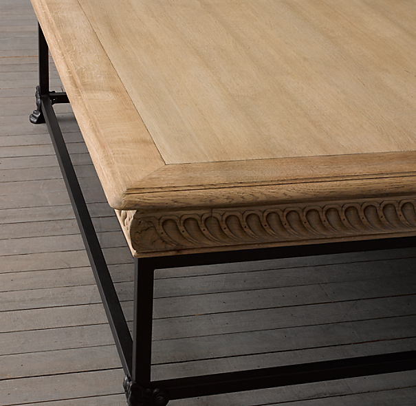 Chinese Relief Coffee Table: 1850s French Oak Relief Coffee Table