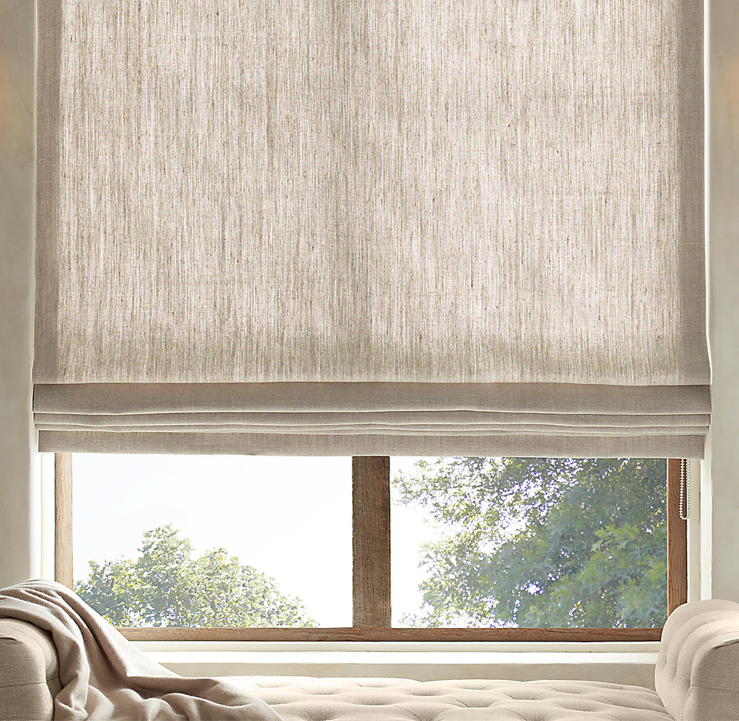 Textured belgian linen flat roman shade for Restoration hardware window shades