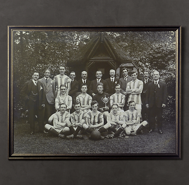 Vintage Sports Team Portrait, Striped Jersey Rugby Team