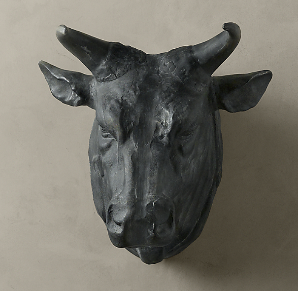 Circa 1900 Cast Metal Bull's Head