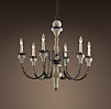 Parisian Wood & Zinc 6-Arm Chandelier
