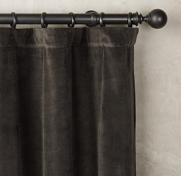vintage velvet drapery rod pocket