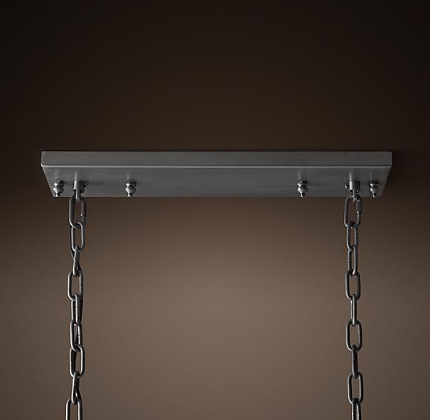 "Rococo Rectangular Chandelier: 19th C. Rococo Iron & Smoke Crystal Rectangular Chandelier 40"""