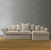 Camelback Slipcovered Right-Arm Sofa Chaise Sectional