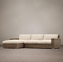 Antilles Rattan Left-Arm Sofa Chaise Sectional