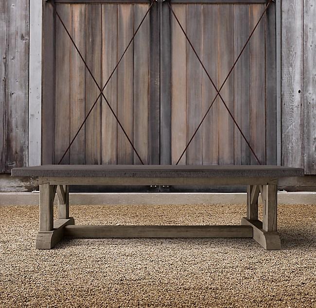 Bruges Trestle Concrete Amp French Oak Rectangular Dining Table