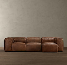 Fulham Leather Right-Arm Sofa Chaise Sectional