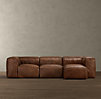 Fulham Leather Right Arm Sofa Chaise Sectional