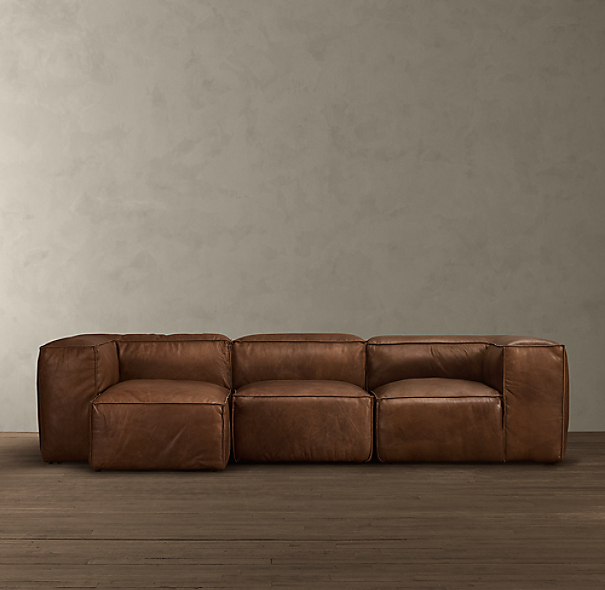 Fulham Leather Left-Arm Sofa Chaise Sectional