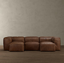 Fulham Leather U-Chaise Sectional