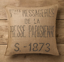 Presse Parisienne Burlap Pillow Cover