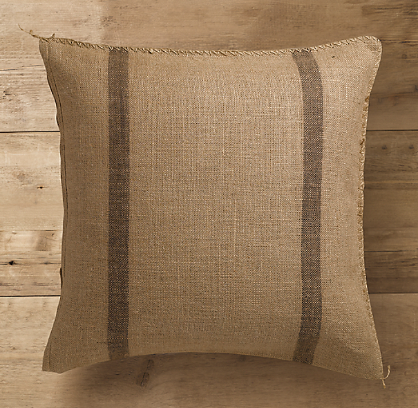Stripe Burlap Pillow Cover