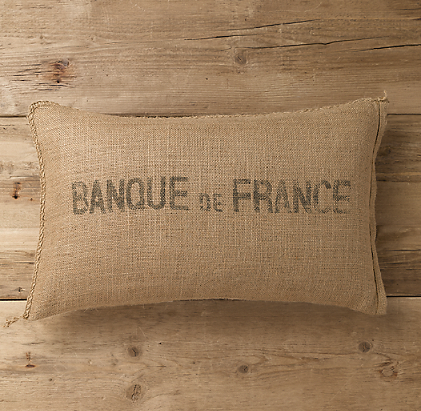 Banque de France Burlap Pillow Cover