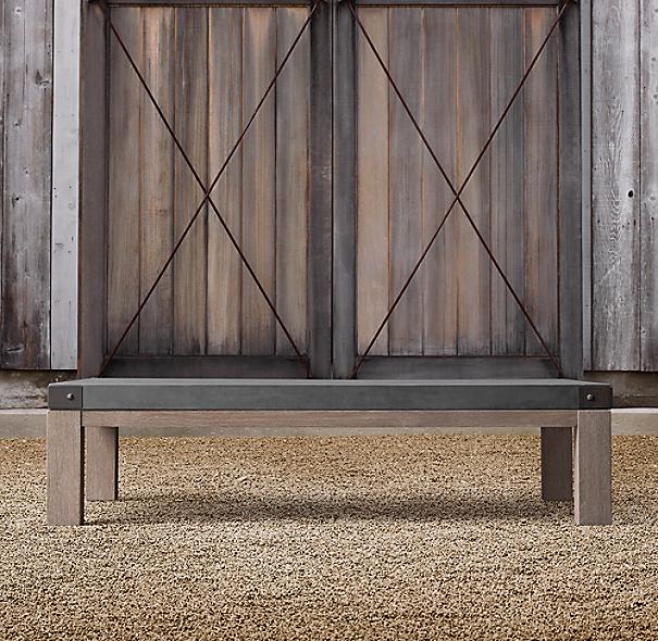 Belgian Trestle Concrete Amp Teak Coffee Table