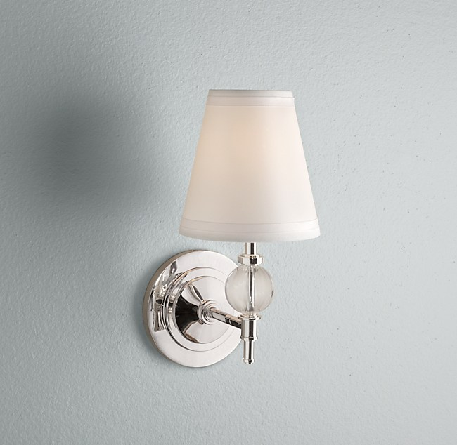 Bathroom light fixtures from sleek to shabby chic linda merrill i love the wilshire single sconce from restoration hardware for its classic elegant simplicity this is a real go to piece that comes in satin nickel mozeypictures Choice Image