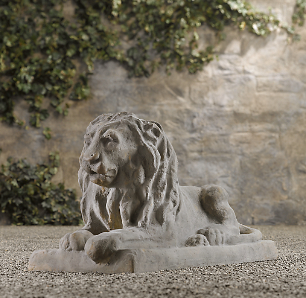 19th C. Cast Stone Lion