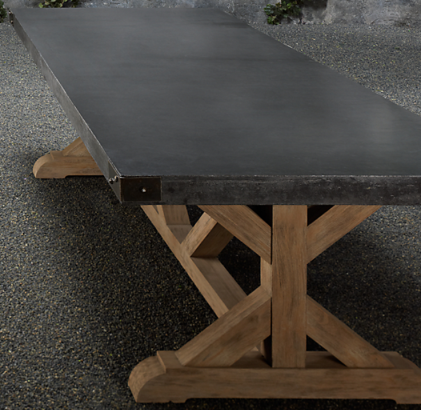 "84"" Concrete & Teak Rectangular Dining Table"