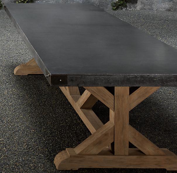 84 Quot Concrete Amp Teak Rectangular Dining Table