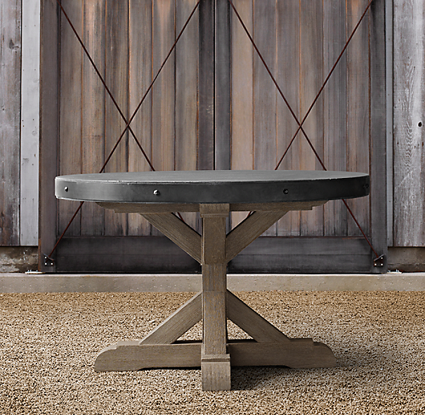 "48"" Concrete & Teak Round Dining Table"