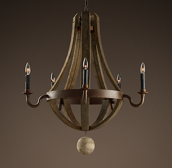 Wine Barrel 5-Arm Chandelier