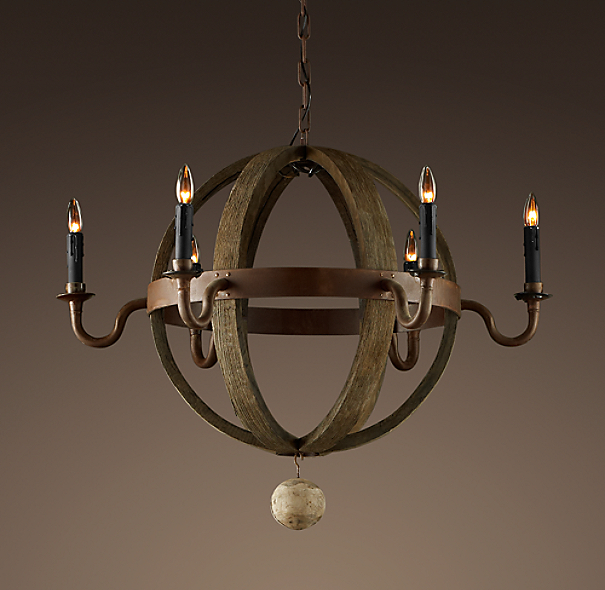 Wine Barrel 6-Arm Round Chandelier