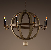 Wine Barrel Round 8-Arm Chandelier