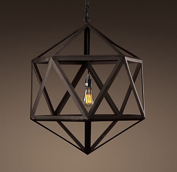Steel Polyhedron Medium Pendant | Outdoor Lighting | Restoration ...