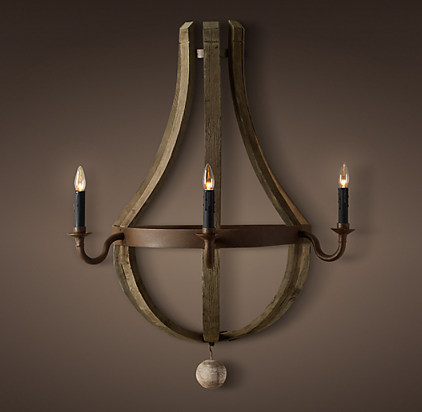 Wine Barrel 3-Arm Wall Sconce