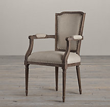 Vintage French Nailhead Upholstered Armchair