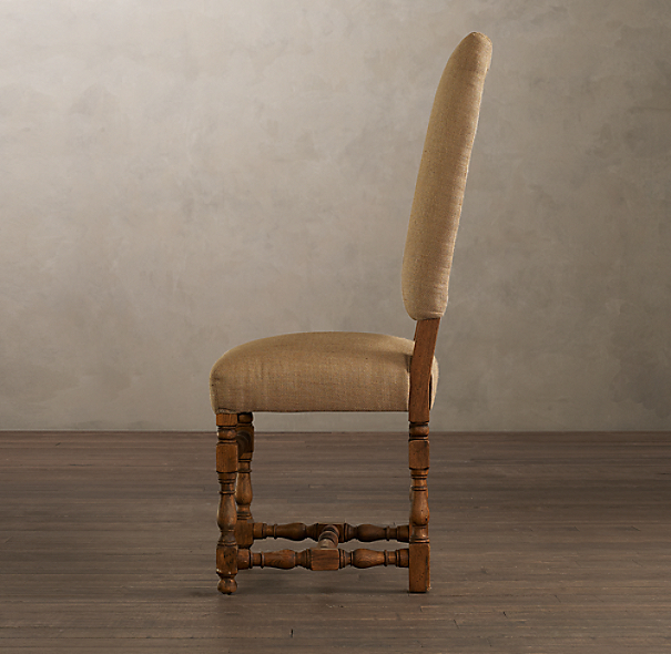 1890 English Baroque Side Chair Burlap