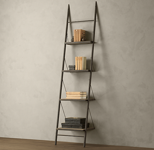 Reclaimed Elm Amp Iron Leaner Shelving Narrow