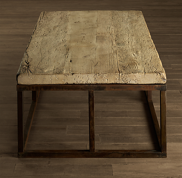 Reclaimed French Floorboard Coffee Table Small