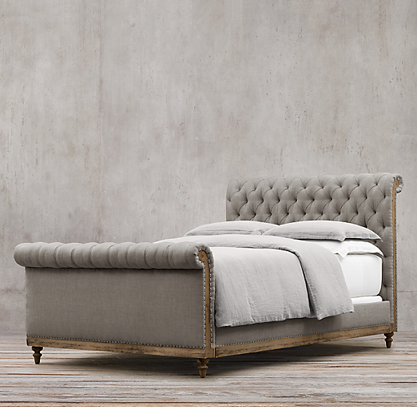 "56"" Deconstructed Chesterfield Sleigh Bed With Footboard"