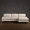 English Roll Arm Upholstered Right-Arm Sofa Chaise Sectional