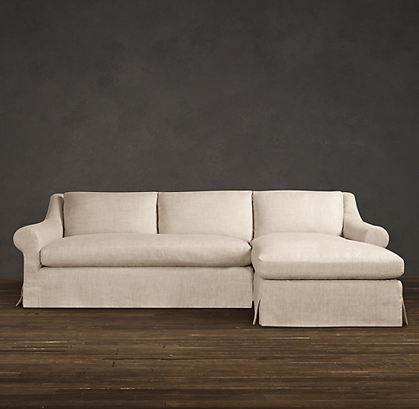 Belgian Roll Arm Slipcovered Right-Arm Sofa Chaise Sectional