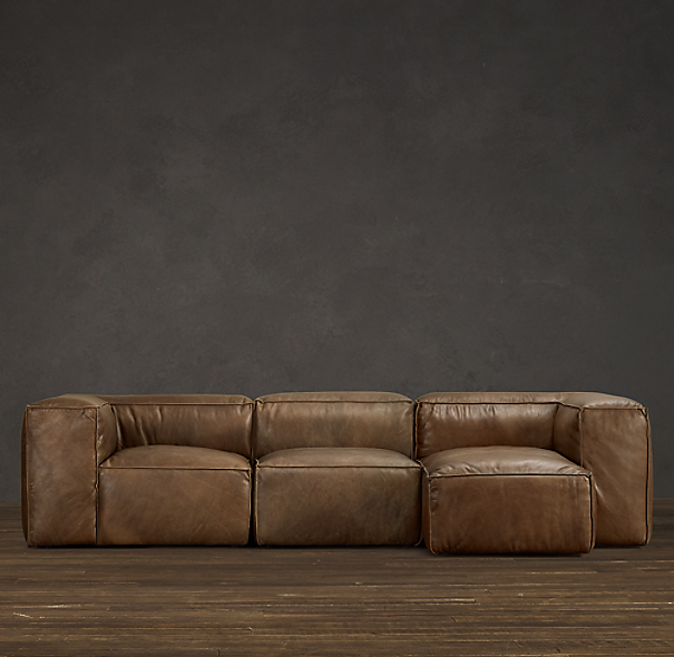 Fulham Leather Sofa Chaise Sectionals