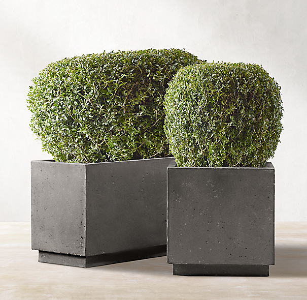 Weathered Cast Stone Tapered Planters