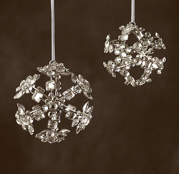 Victorian Glass Snowflake Sphere Ornament Beaded