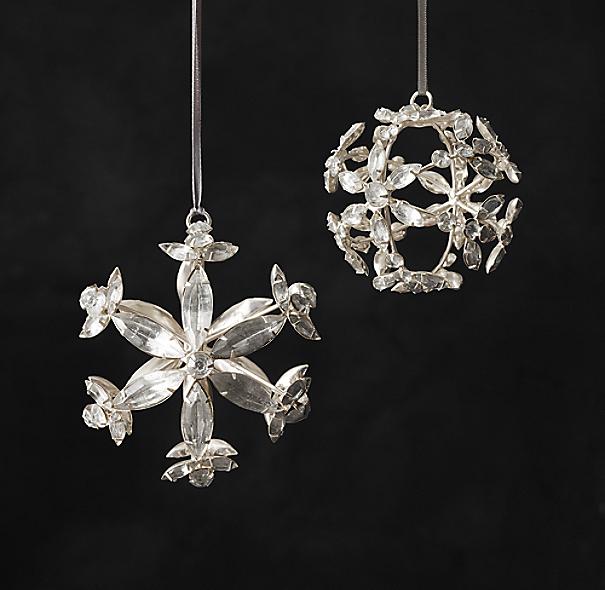 Victorian Glass Snowflake Sphere Ornament Hexagon