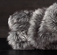 Exotic Faux Fur Throw - Siberian Grey Fox