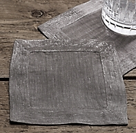Belgian Linen Metallic Cocktail Napkin (Set of 4)