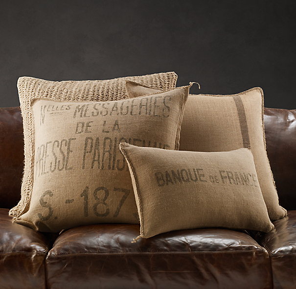 Vintage French Burlap Pillow Covers