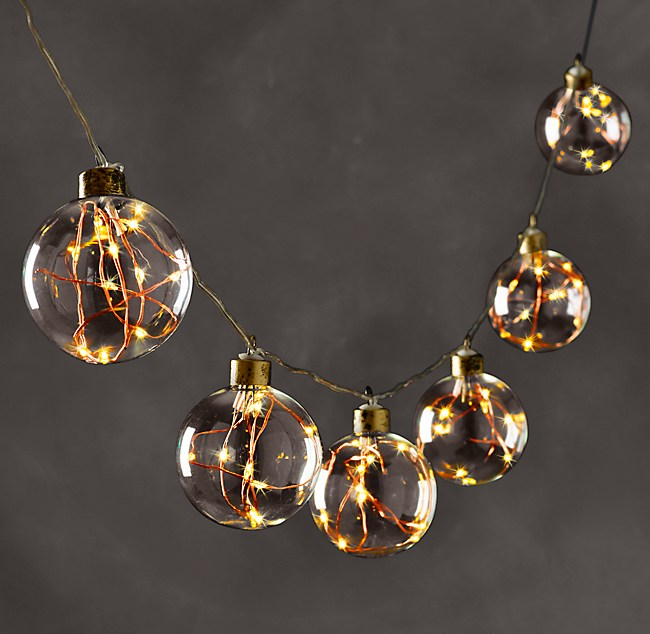 Starry Glass Globe String Lights Amber Lights On Copper Wire
